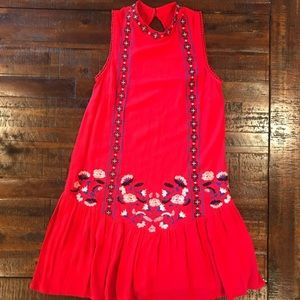 Red Embroidered Mini Xhilaration Dress